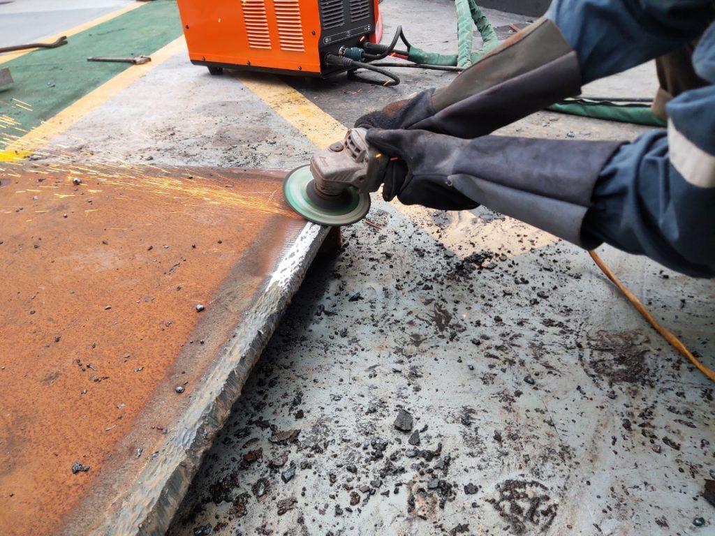 Welds are beveled before welding